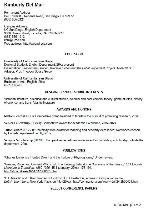 UC San Diego CV Example For Undergraduate Students. Visit Website To View  Page Two Of Sample CV  Resume Example For College Student
