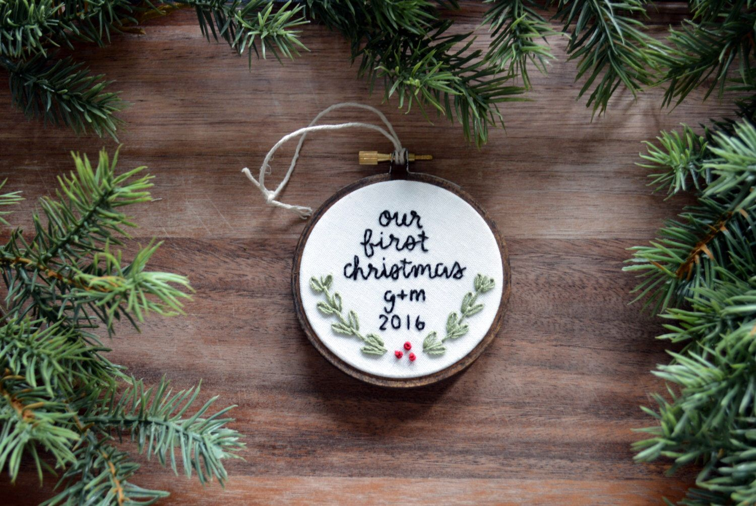 our first christmas ornament embroidery hoop ornament newlyweds couples first christmas ornament - Couples First Christmas Ornament