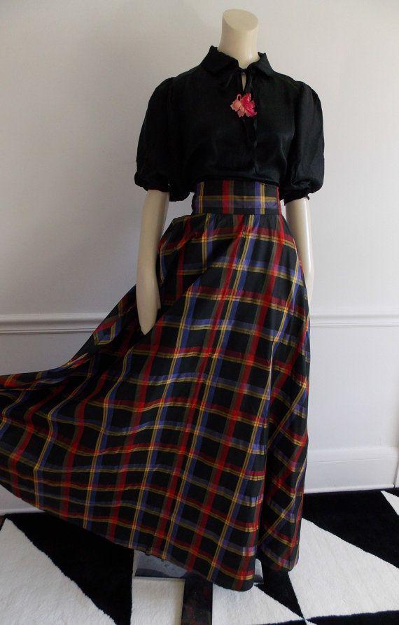 bd6ce0e85 SPECIAL OFFER -vintage 1950s long taffeta skirt/ 50s plaid full skirt/ 40s  WWII swing era evening maxi skirt
