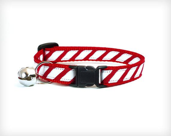 Holiday Cat Collar - Candy Cane Baby - Red & White Peppermint Stripes - by MadeByCleo
