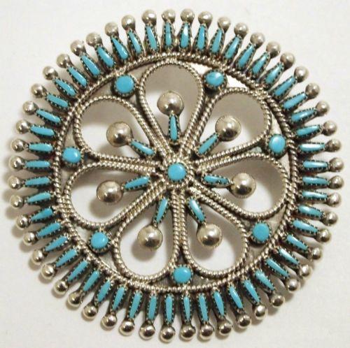 Zuni Turquoise Needlepoint Sterling Pendant Pin Vincent Socorro Johnson | eBay