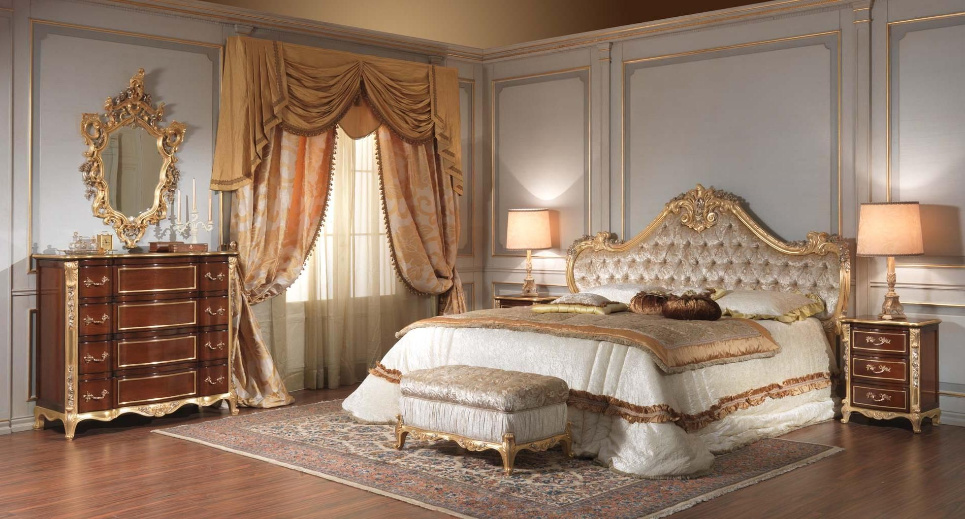 Victorian Master Bedroom With Luxury Furniture Plus Asian Carpet Style Make Up Table