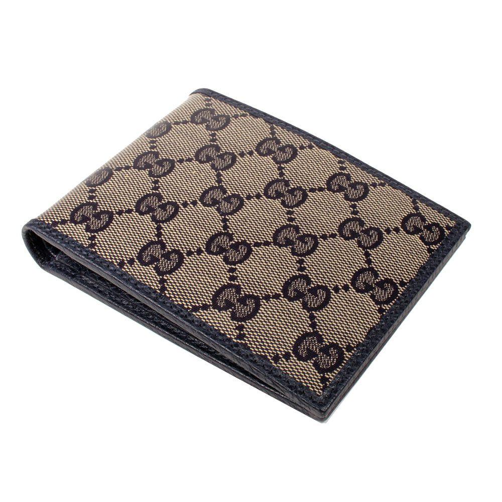6c77cbdab6df Gucci Designer Wallet Mens Blue / Beige Coated Canvas Large Wallet ...