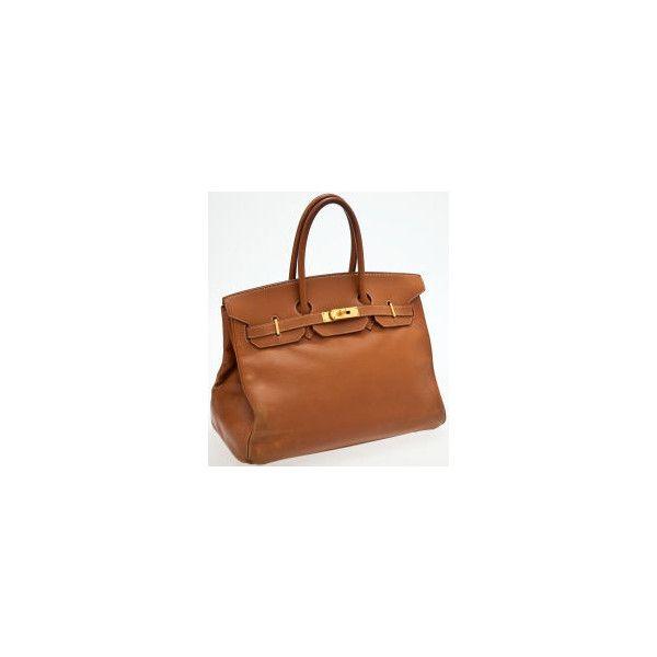 90e6336e5bb Heritage Vintage Hermes 35cm Gold Ardennes Leather Birkin with Gold... via  Polyvore