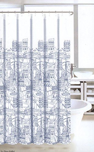 Nicole Miller Fabric Shower Curtain Navy Blue White France Paris