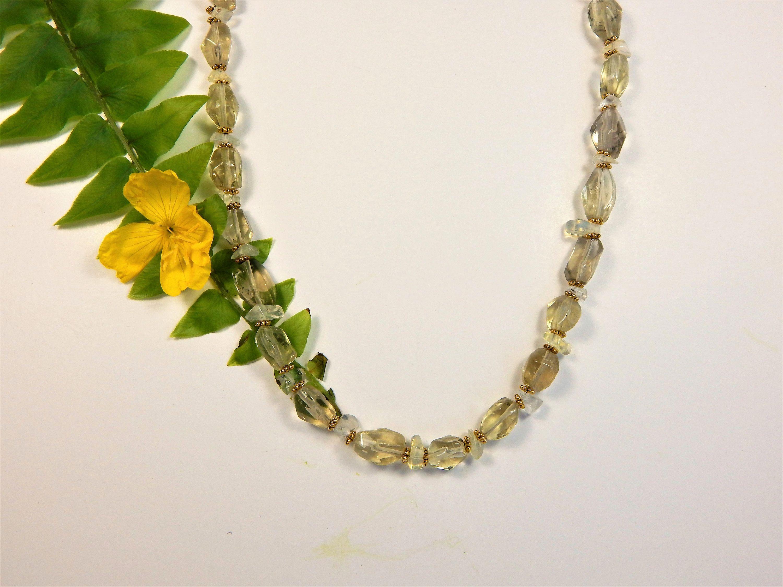 Lemon quartz nugget necklace n beaded jewelry pinterest