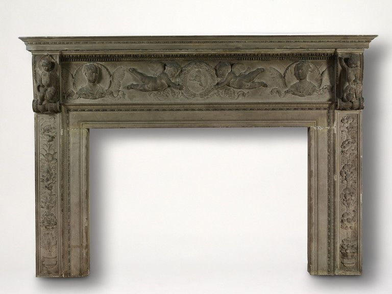 Chimney piece | Desiderio da Settignano | [Firenze], Italy (made)  Date: ca. 1466-ca. 1470 (made)  Artist/Maker: Desiderio da Settignano, born 1430 - died 1464 (workshop of, sculptor)  Materials and Techniques: Grey, carved sandstone