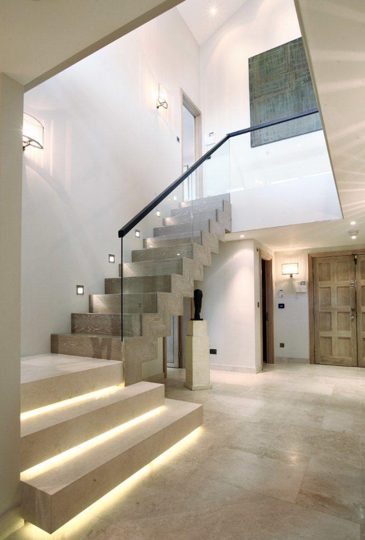Led Treppenbeleuchtung Innen 25 Ideen Fur Die Gestaltung Eclairage Escalier Escaliers Modernes Escalier Contemporain