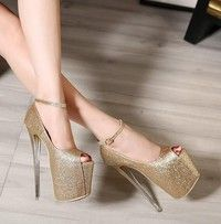 543e935f6d9 Woman Ankle-strap Crystal Clear 19cm Super High Nude Platform ...