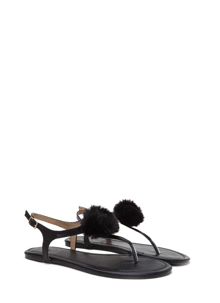 8a8a9b61ebebd1 Pom Dot Com T-Strap Thong Sandals BEIGE BLACK BLUSH BABYBLUE - GoJane.com