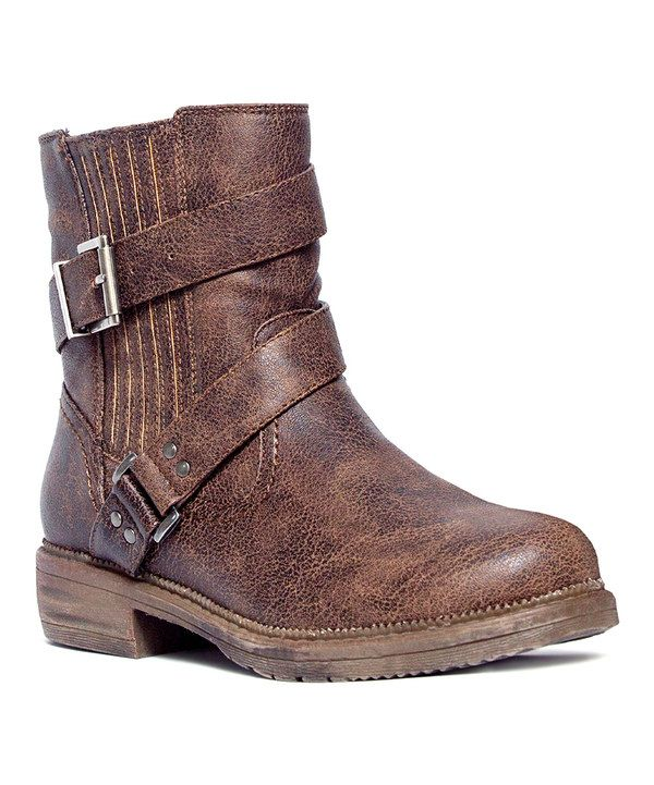 Look at this MUK LUKS Distressed Brown Dani Ankle Boot on #zulily today!