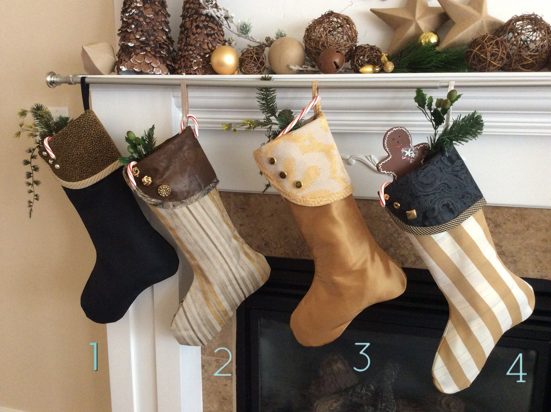 Gold and Black Christmas Stockings Modern Stockings Fireplace