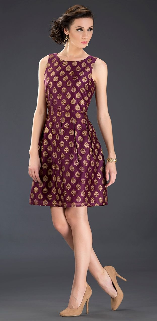 ba25d349ddf  brocade  dress  occasion  silk  wine  gold  dressy  glam  evening  dressy   women  fashion  FABELS  Fabindia