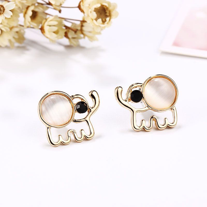 Gold Color Elephant Earrings for Girls and Women
