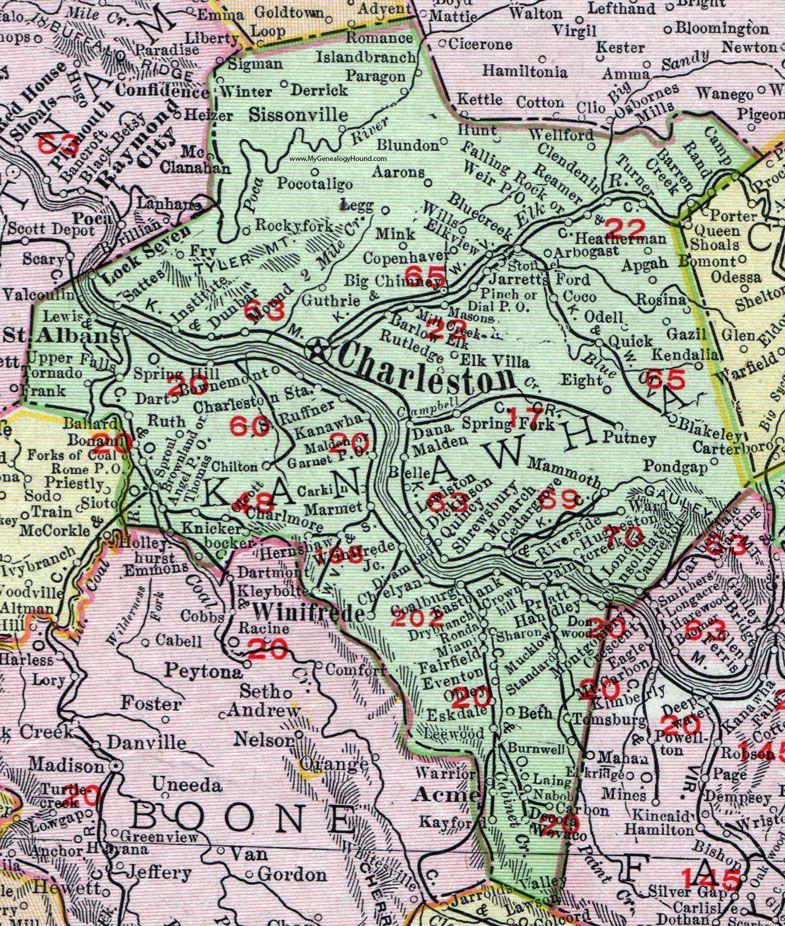 Kanawha County, West Virginia, 1911, Map, Charleston, St. Albans ...