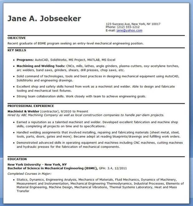 Mechanical Engineering Resume Template Entry Level Creative - sample bartender resumes