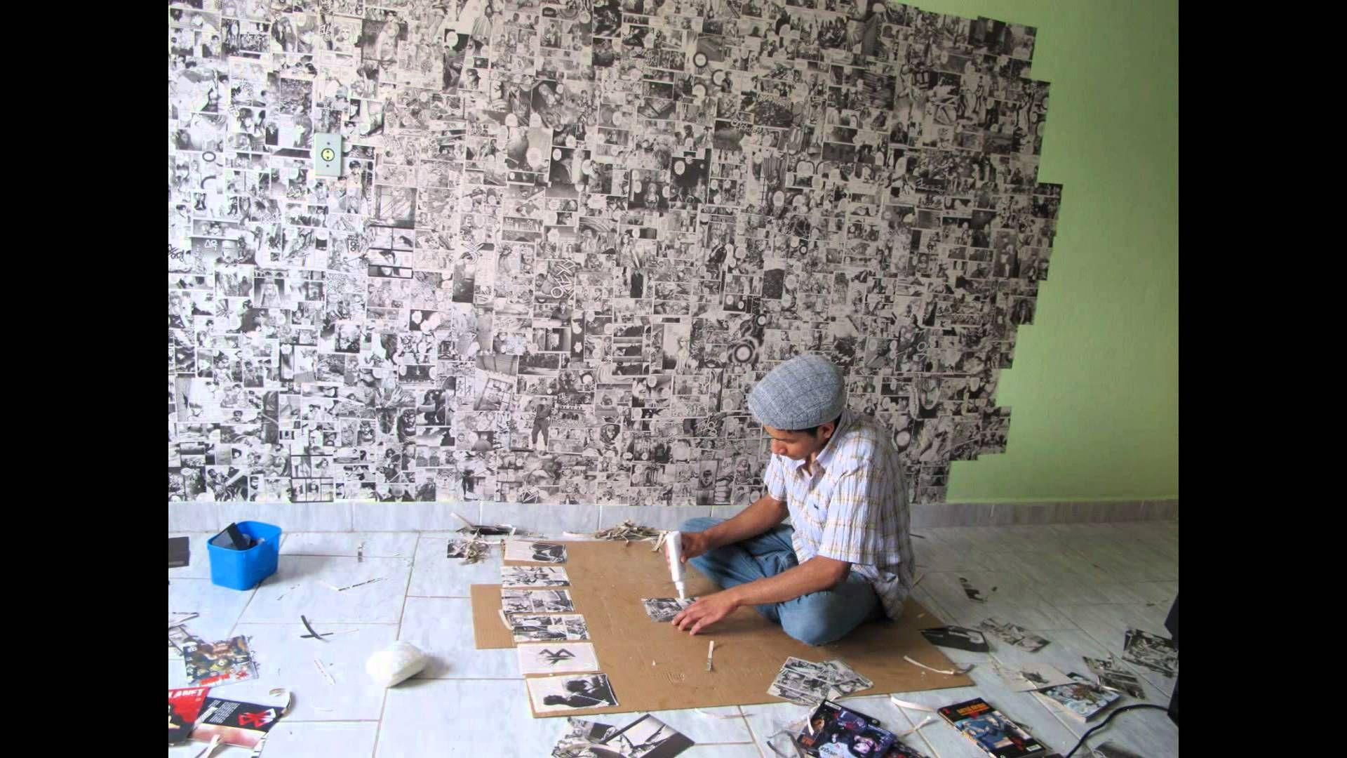 Stop Motion - Decorando parede com folhas de mangás