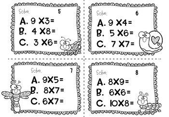 Valentine's Day Multiplication Task Cards (3rd/4th grade