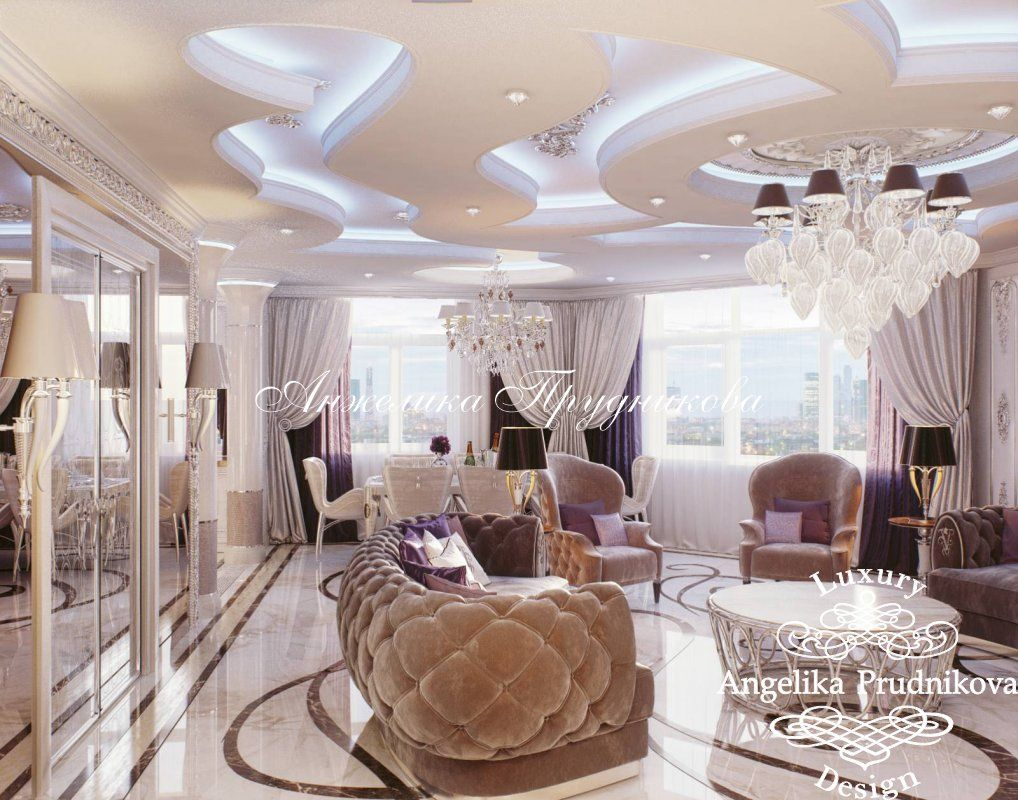 Дизайн интерьера квартиры в стиле Ар-Деко Золотые ключи - фото