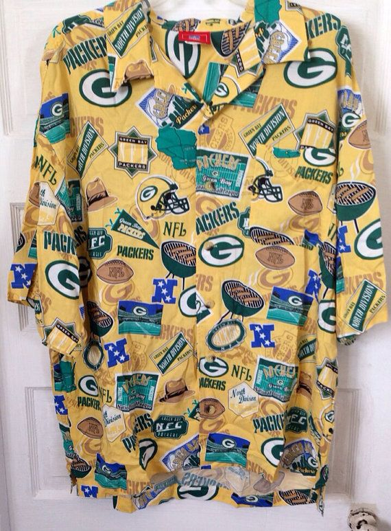 21c9332b5 ... NFL Green Bay Packers Hawaiian Shirt by HeadyHandMeDowns on Etsy
