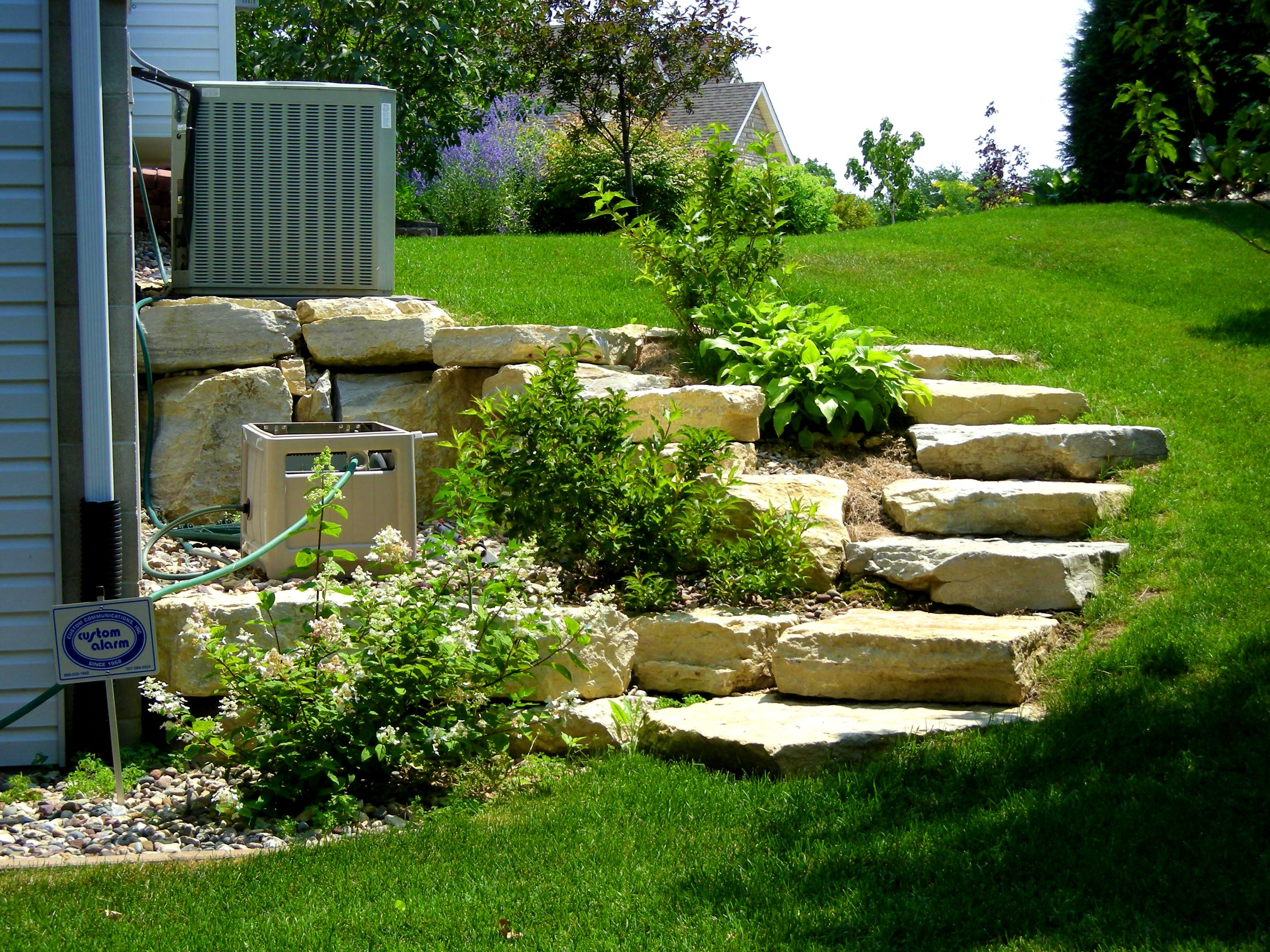 Bedroom alluring ideas about landscape steps landscaping for Hillside rock garden designs