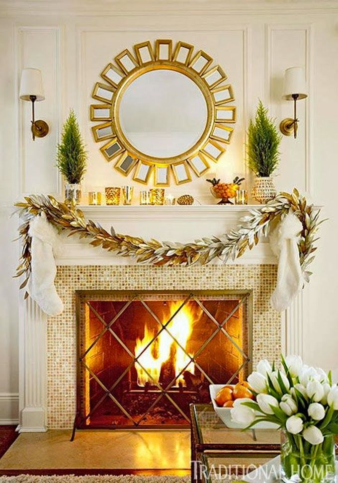 Big mirror above fireplace Decor/home improvement ideas - christmas fireplace decor