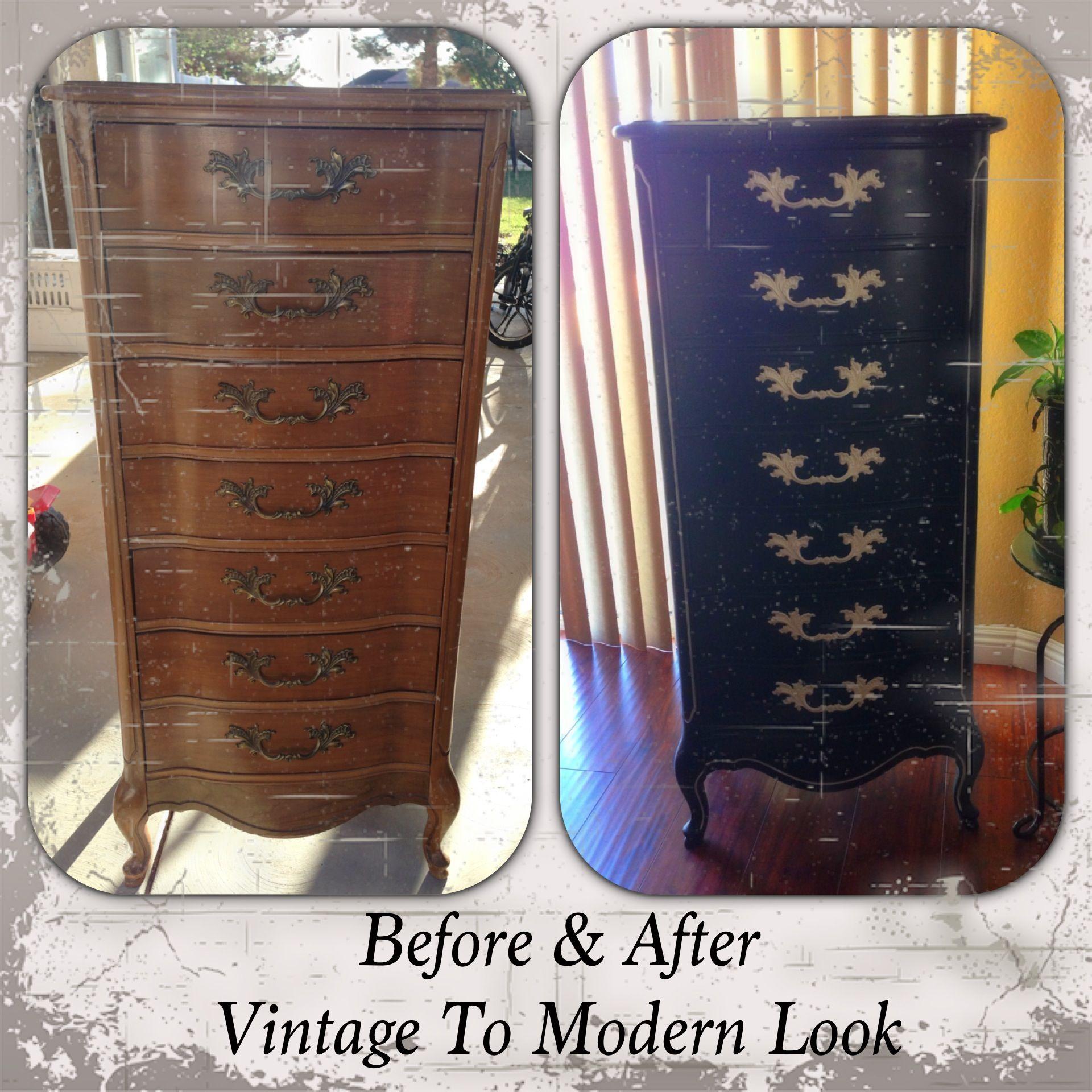 Modern look to vintage lingerie dresser www.facebook.com ...