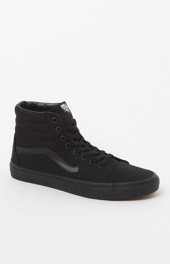 Vans Sk8 Hi Black Canvas Shoes | Zapatos converse, Converse