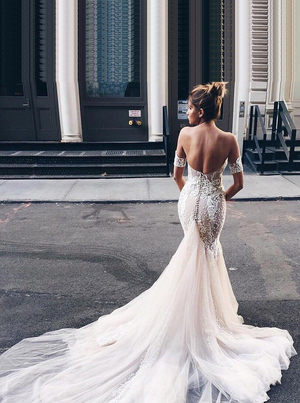 Mermaid Long Wedding Dress Fall Off The Shoulder Bridal Gown