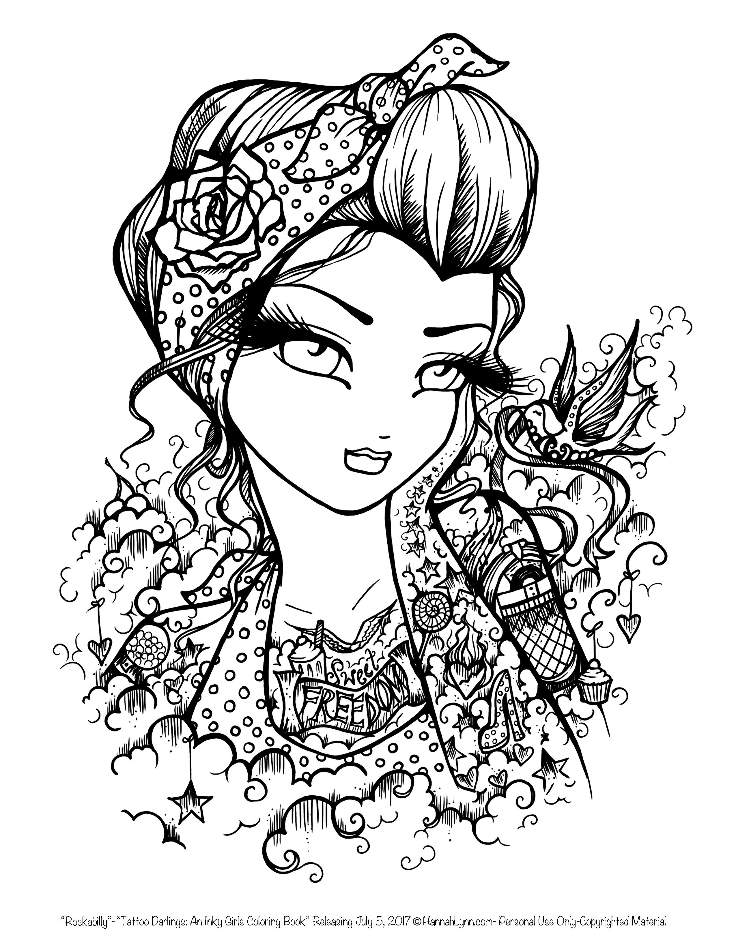 Tattoo Darlings FREE Sample coloring page Rockabilly Girl by