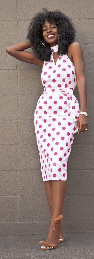 #summer #halterneck #trend | Halter Polka Dot Dress