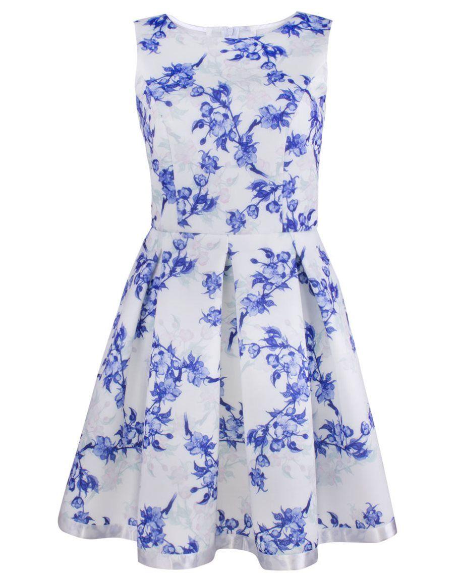 4a15e8bd90 Sukienka Emilia biało-niebieska w kwiaty