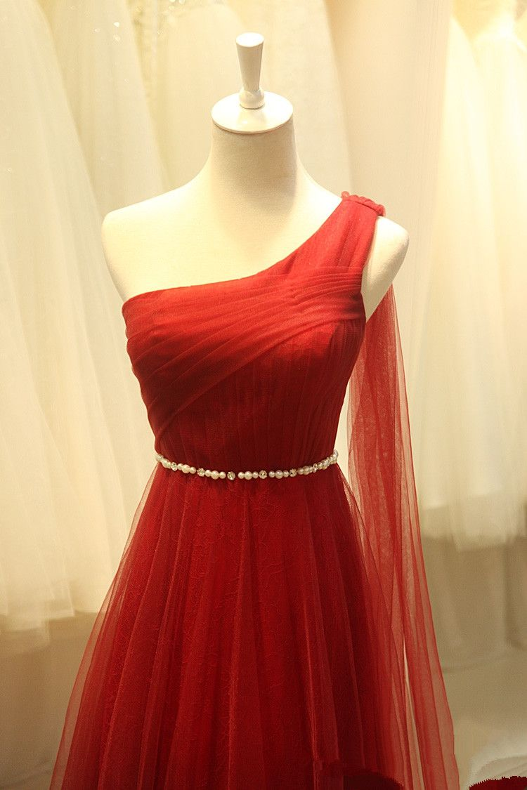Pretty tulle one shoulder wine red long simple prom dresses wine