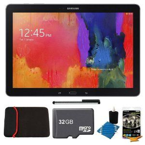 """Samsung Galaxy Note Pro 12.2"""" SM-P9000ZKVXAR Black 32GB Tablet, 32GB Card, Headphones, and Case Bundle - Includes tablet, 32GB microSD memory card, 13"""" tablet sleeve, audio earbuds, universal touch screen stylus pen, and cleaning kit by Samsung  List Price: $819.00 Price: $749.99 & FREE Shipping You Save: $69.01 (8%) Only 9 left in stock."""