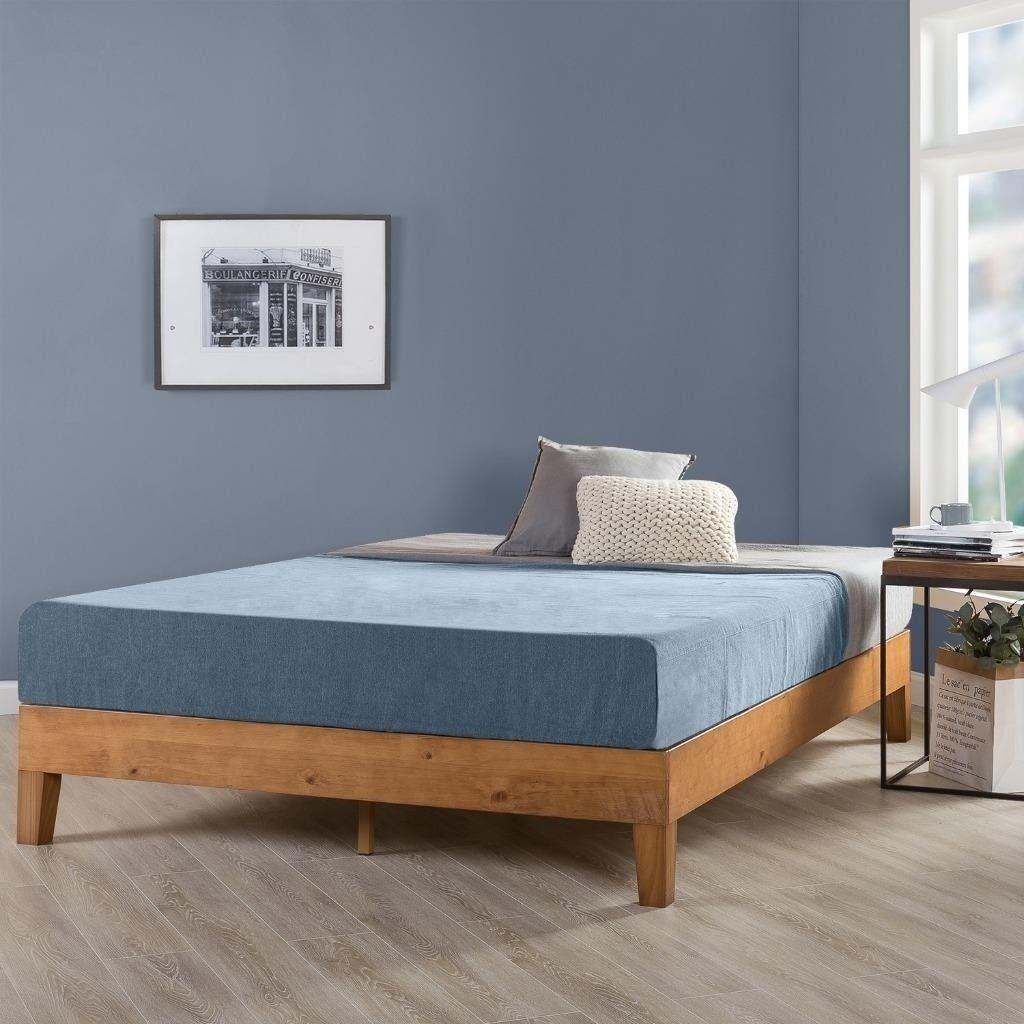 King Size 12 Inch Grand Solid Wood Platform Bed Frame Natural