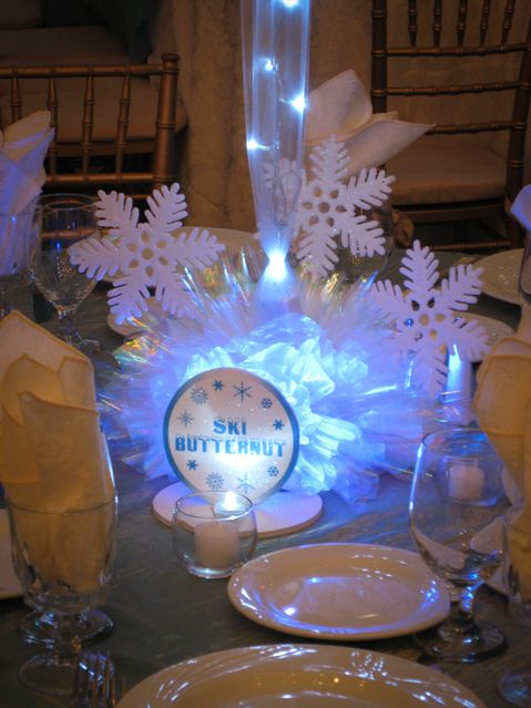 Winter snowflake centerpiece themed
