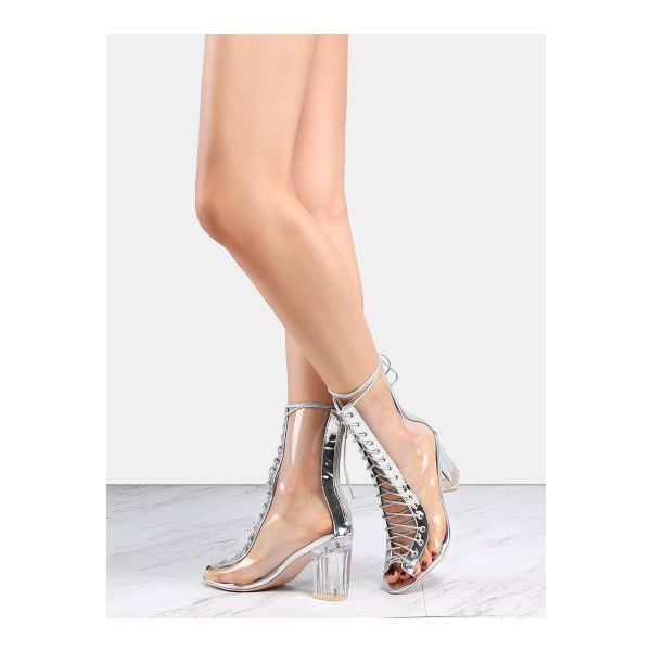 a6225c104e0 SheIn(sheinside) Metallic Transparent Heel Boots SILVER ( 48) ❤ liked on  Polyvore featuring shoes