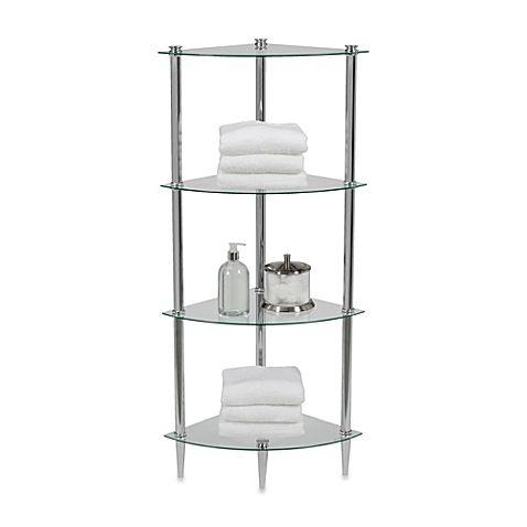 Creative Bath L\u0027Etager 4-Shelf Glass Corner Tower in Chrome Home
