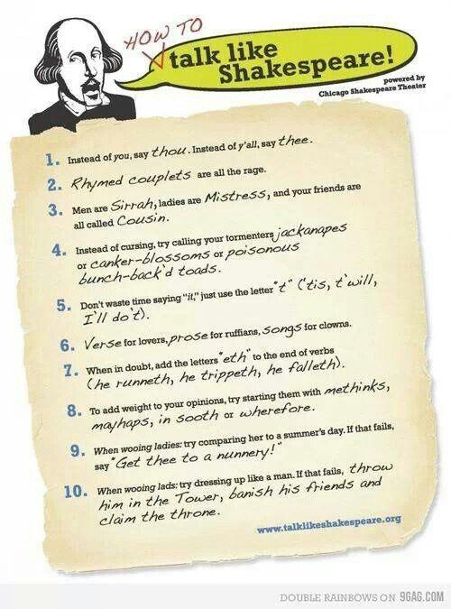 How to talk like Shakespeare