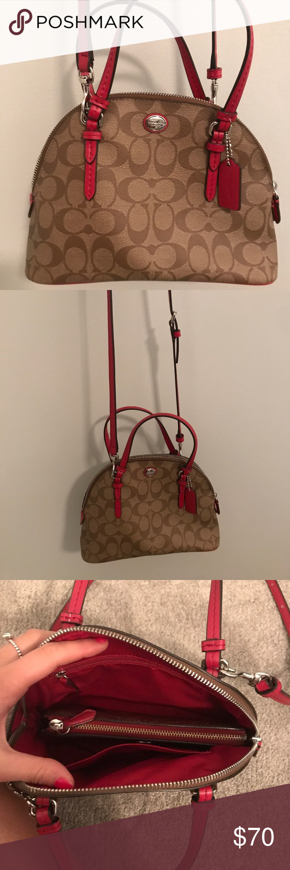 50e91a87224 Tan and red Coach crossbody AND matching wallet This Browns and red coach  bag and wallet have never been used. In perfect condition!