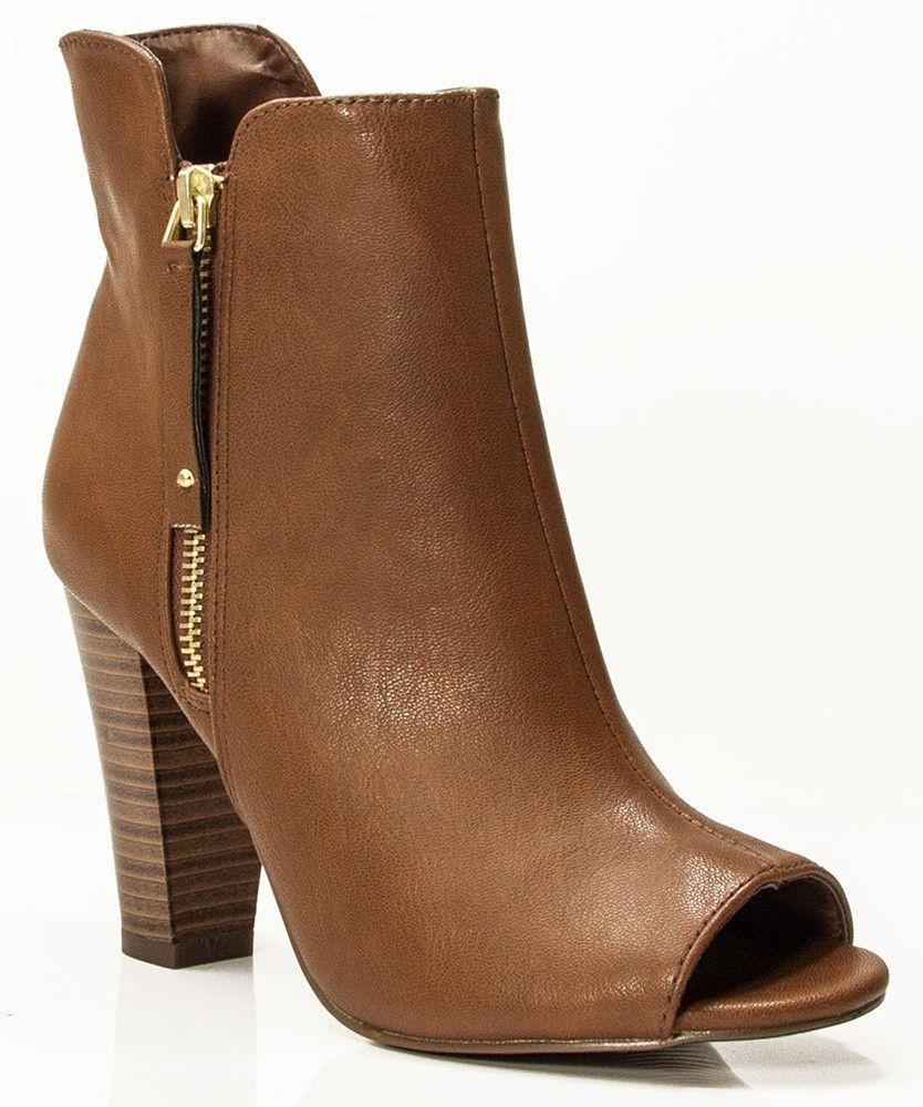 f1c0cfef5 New Breckelle Sheela-11 Vegan Peep Toe Ankle Booties TAN | Ankle ...