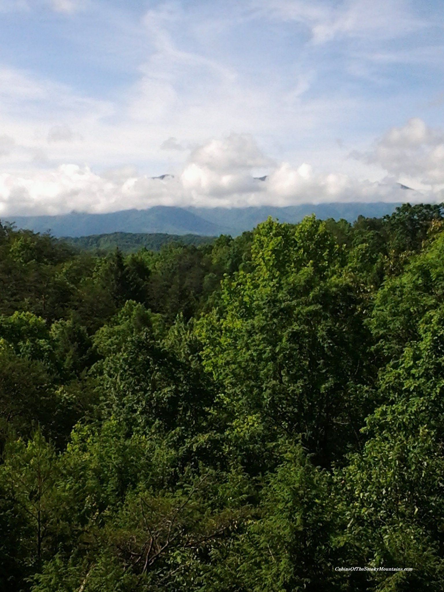 Jacuzzi in master bedroom  Mountains peeking from behind the clouds  view from a Pigeon Forge
