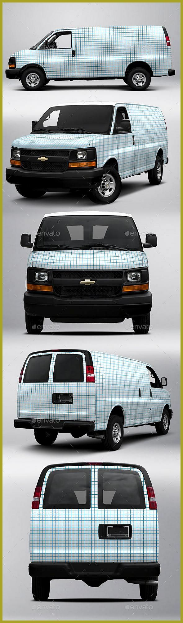 2017 Chevy Express 2500 Cargo Van Wrap Mock-up is a fully layered Photoshop PSD file that allows yo
