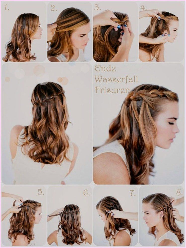 20 Perfekt Frisur Idee Mit Tutorial 2019 Geflochtene Frisuren Wasserfall Frisur Mittellange Haare Frisuren Einfach