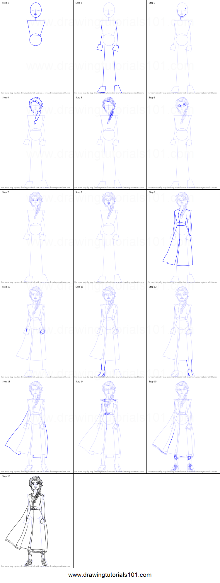 How To Draw Elsa From Frozen 2 Printable Drawing Sheet By Drawingtutorials101 Com In 2020 How To Draw Elsa Drawing Sheet Elsa Frozen