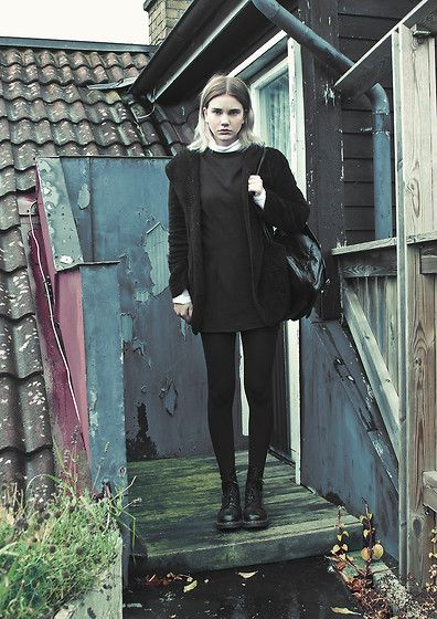 E Bay Coat, H&M Turtle Neck, Vintage Dress, Market In Budapest Backpack, Dr. Martens Boots
