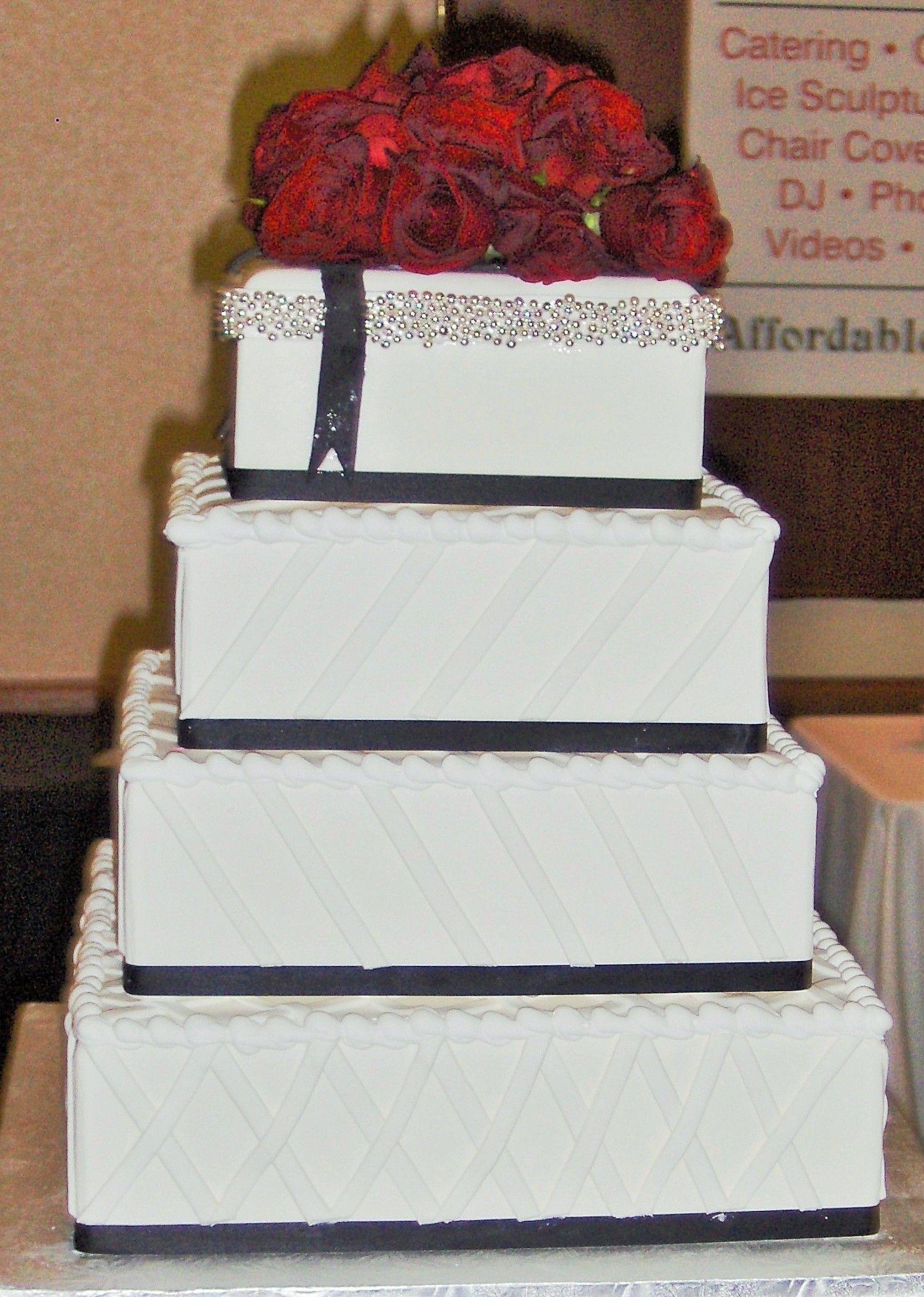 Roses Square Wedding Cake - CakeCentral.com