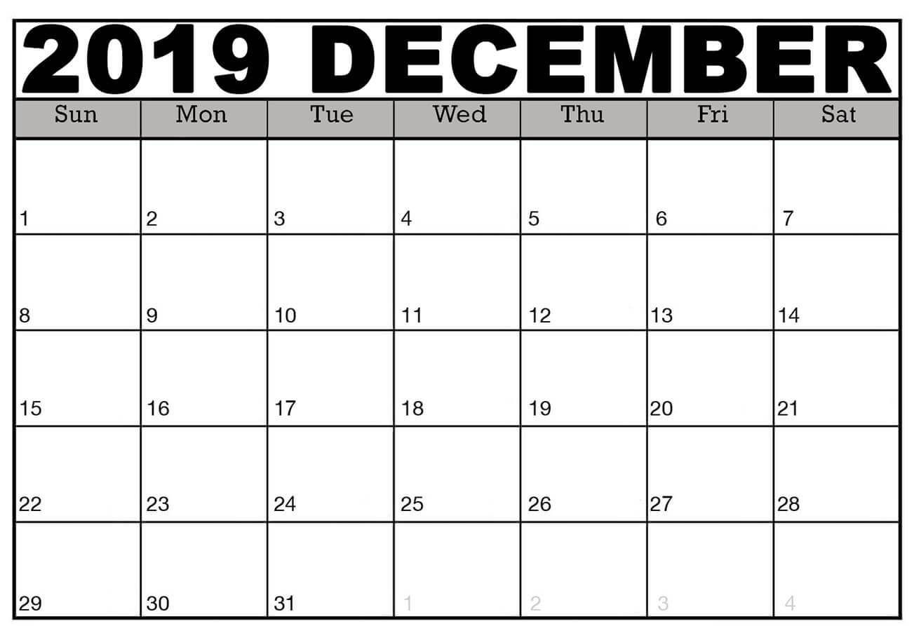 Editable December 2019 Printable Calendar Template With Notes