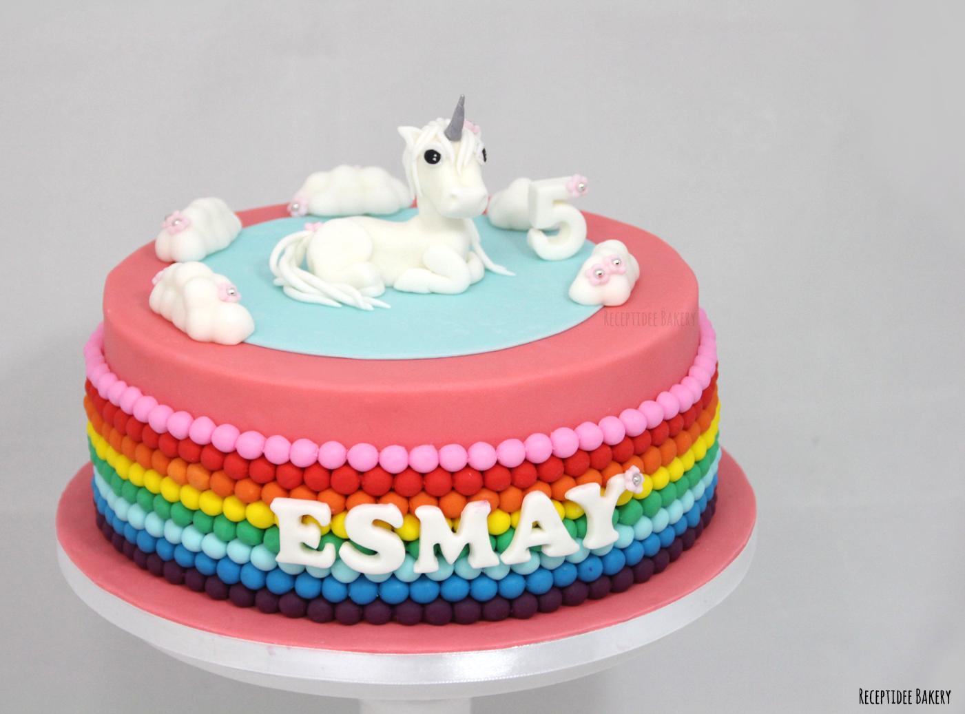 gefeliciteerd taart nl Eenhoorn regenboog taart Gefeliciteerd Esmay met je 5e verjaardag  gefeliciteerd taart nl