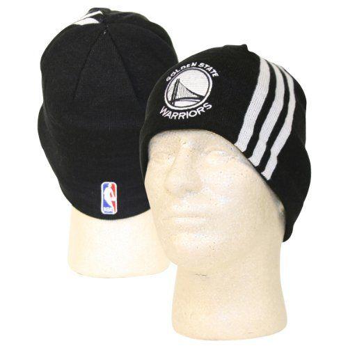 ffc9f6c50e7 NBA Adidas 3 Stripe Beanie   Knit Hat - Golden State Warriors (Black ...